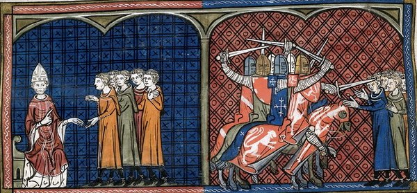 Miniatures showing Pope Innocent III excommunicating, and the crusaders massacring, Cathars(BL Royal 16 G VI, fol. 374v, 14th century) Albigensian Crusade 01.jpg