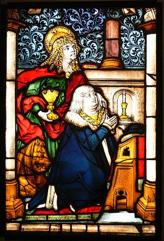 """Albert IV, Duke of Bavaria - Glass window """"Duke Albert IV. and St. John"""" from Prüll abbey, today in Bavarian National Museum"""