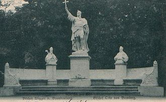 Margraviate of Brandenburg - Siegesallee statue of Albert the Bear, flanked by Bishop Wigger of Brandenburg and Bishop Otto of Bamberg.