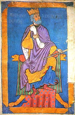 Alfonso VI of León and Castile - 13th century miniature of Alfonso VI from the Tumbo A codex at the Cathedral of Santiago de Compostela.