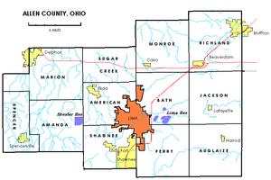 Allen County, Ohio - Allen County townships.