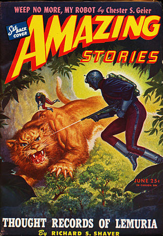 "Richard Sharpe Shaver - Shaver's novella ""Thought Records of Lemuria"", his second published story, took the cover of the June 1945 Amazing Stories"