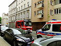 Ambulance and fire engine, Augustiańska Street in Kraków 2015.JPG