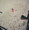 American flag seen from inside the Apollo 11 Lunar Module.jpg
