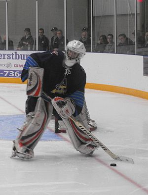 Great Lakes Junior C Hockey League - Amherstburg's goalie playing the puck at their 2013 home opener.