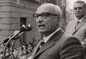 Amintore Fanfani - Amintore Fanfani during a Christian Democracy rally in 1960s.
