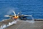 An F-A-18E Super Hornet launches from the aircraft carrier USS Nimitz. (31258300321).jpg