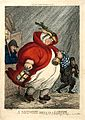An obese midwife on her way to a labour in the early hours o Wellcome L0037274.jpg