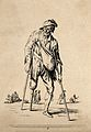 An old man on crutches with a wooden leg. Etching by Jean Du Wellcome V0020414EL.jpg