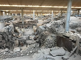 Bronze Age settlement on the volcanic Greek island of Santorini (Thera)