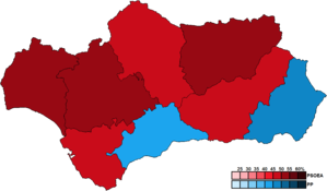 Andalusian regional election, 2008 - Image: Andalusia Province Map Parliament 2008