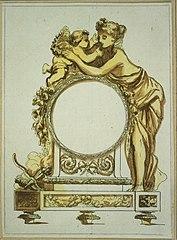 Ébauche d'une horloge avec femme et amour