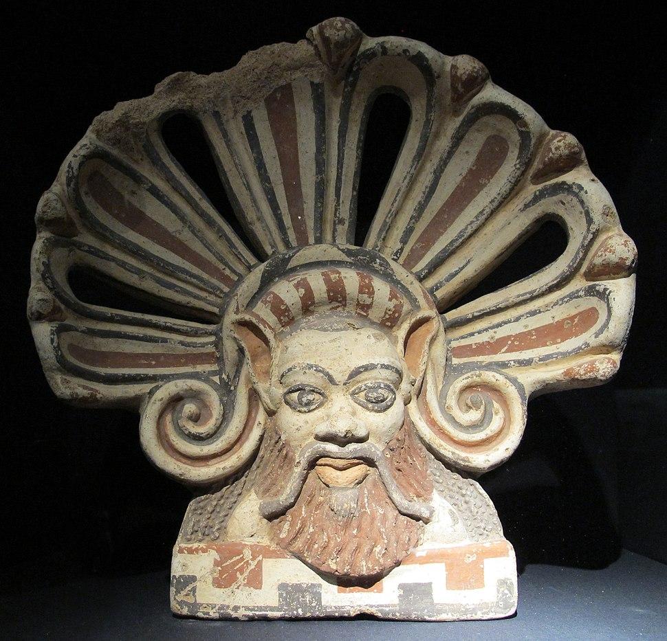 Antefissa a testa di sileno con nimbo, V sec ac, da falerii veteres, civita castellana (M.Arch. dell'agro falisco)
