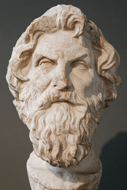 Marble bust of Antisthenes based on the same original (British Museum) Antisthenes BM 1838.jpg