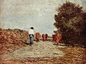 Antonio Fontanesi - Ritorno dal pascolo (The Course to the Pasture), oil on wood, Galleria Sabauda