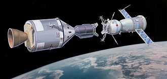 Apollo–Soyuz Test Project - A 1973 artist's conception of the docking of the two spacecraft.