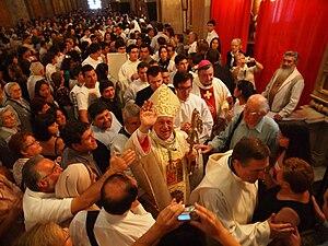 Ricardo Ezzati Andrello - Archbishop Ezzati Andrello greets the faithful after his installation mass.