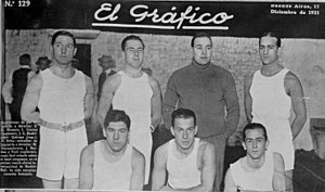 Argentina national basketball team - The first national team as covered by El Gráfico magazine in 1921.