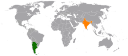 Map indicating location of Argentina and India