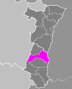 Location of Colmar in Alsace