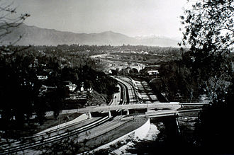 Garvanza, Los Angeles - York Boulevard bridge(background) and The Marmion Way (foreground) bridge over the Arroyo Seco Parkway in 1940