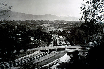 York Boulevard bridge(background) and The Marmion Way (foreground) bridge over the Arroyo Seco Parkway in 1940