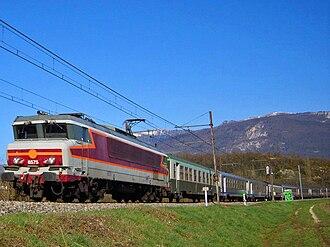 Artemare - A train passing through Artemare to Lyon