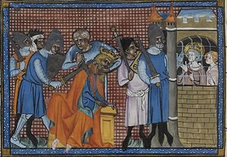 Al-Muazzam Turanshah - 14th century European depiction of the assassination of Turanshah