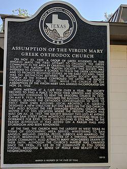 Photo of Assumption of the Virgin Mary Greek Orthodox Church, San Angelo, TX black plaque