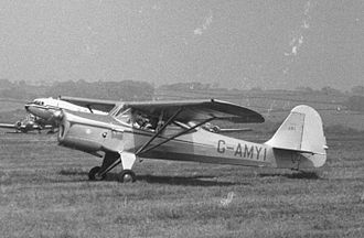 Auster J family - The sole J/8L Aiglet Trainer had an enlarged fin and rudder. Leeds (Yeadon) Airport May 1955
