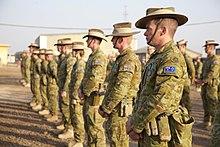 Farbfoto von Personen, die Militaruniformen tragen, die in Linien wahrend einer formellen Parade stehen
