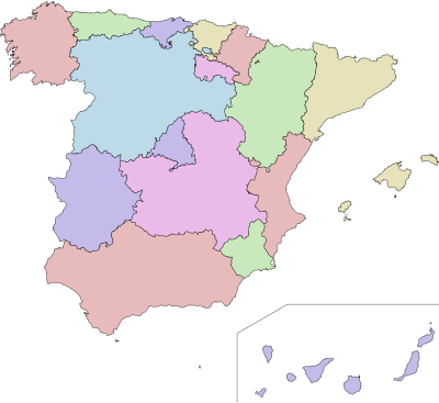 Autonomous communities of Spain no names.svg
