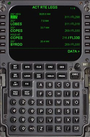 Flight management system - Example of a FMS Control Display Unit