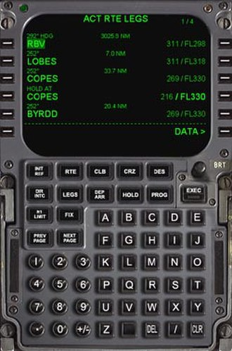 Air navigation - A relatively modern Boeing 737 Flight Management System (FMS) flight deck unit, which automates many air navigation tasks