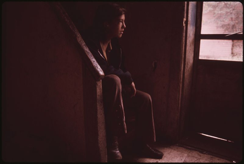 File:BILLY WATKINS, ONE OF NINE CHILDREN IN A BISCUIT WORKER'S FAMILY, BROODS ON THE STAIRS OF THEIR MULKY SQUARE HOUSE - NARA - 553534.jpg