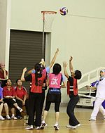 Women playing netball at the BKP Netball Tourney