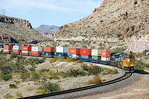Intermodal container - Freight train carrying containers through West Kingman Canyon, Arizona