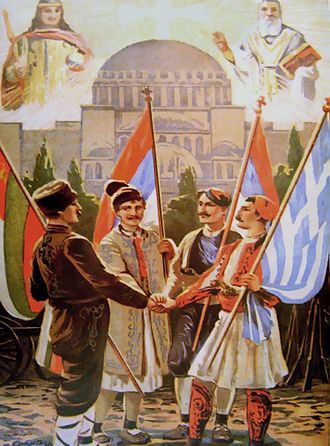 Balkan League - Military alliance poster, 1912.