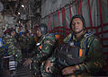 Bangladesh Air Force (BAF) paratroopers await a jump aboard a U.S. Air Force C-130 Hercules aircraft over Bangladesh during exercise Cope South 14 Nov. 9, 2013 131109-F-SI013-427.jpg
