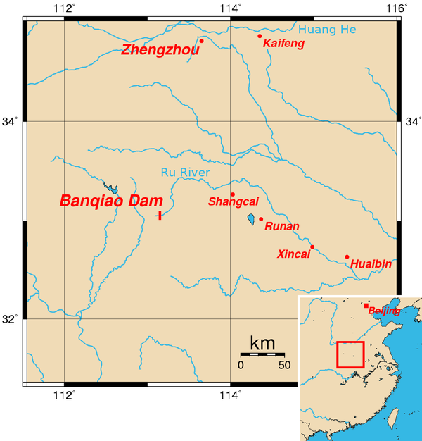 Approximate location of Banqiao Dam Banqiaomap.png