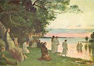 Gustaf Cederström - Image: Baptisterna, målning av Gustaf Cederström (1886)
