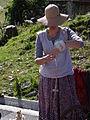 Barèges - Fête des bergers 15 Aout 2014 - Travail de la laine 02.JPG