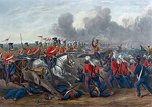Battle of Aliwal - Charge of British 16th lancers against Sikh Fauj-i-Ain infantry and artillery.