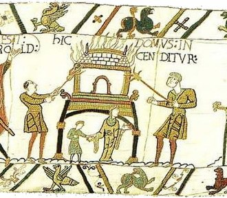Burning of Southwark - A scene from the Bayeux tapestry depicting the (earlier) burning of an Anglo-Saxon house