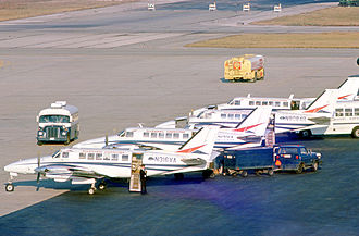 Beechcraft Model 99 - Beech 99s of Britt Airways operating under contract to Allegheny Commuter at Chicago O'Hare in 1975