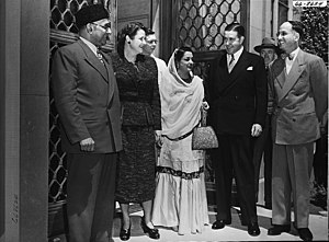 Gharara - Begum Liaquat Ali (centre), dressed in a traditional gharara, 1950