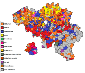 Belgian local elections, 2012 - Image: Belgian local elections map 2012