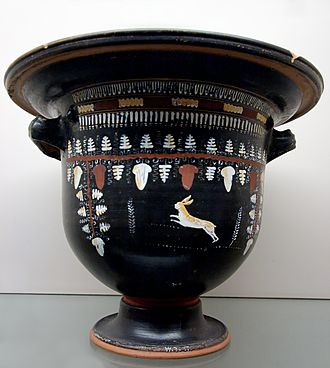 Gnathia vases - Hare and vine tendril on a bell krater by the Laurel Spray Group, circa 330 BC. London: British Museum.
