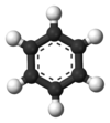 Ball-and-stick model of benzene