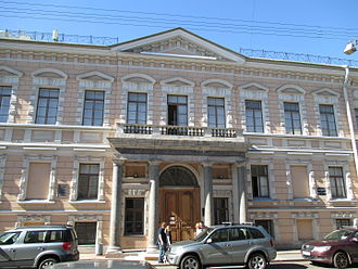 Alexander Bezborodko - Bezborodko Palace in Saint Petersburg - southern façade (Pochtamskaya ulitsa) portico of four granite columns that remained from the original Quarenghi design. (summer 2015)